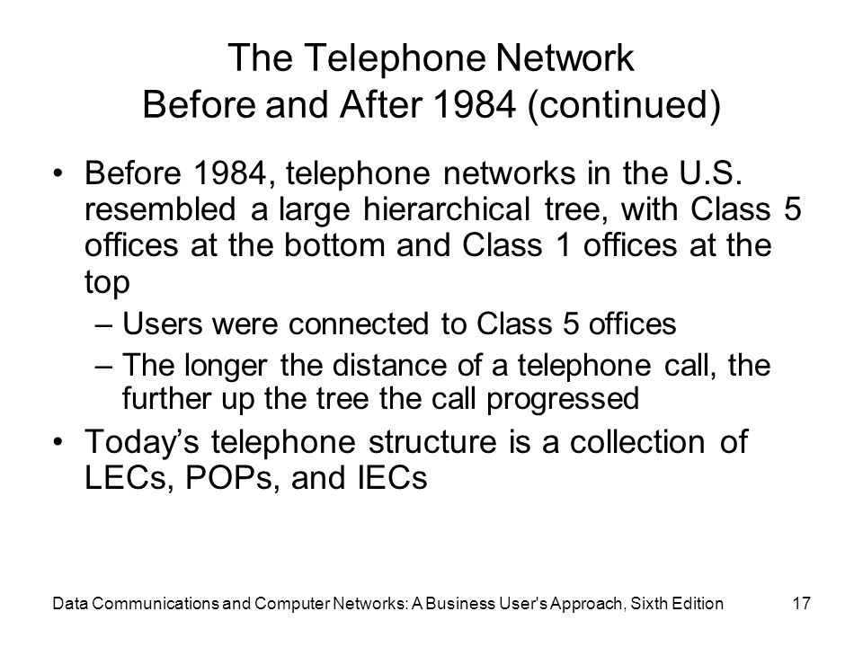 Data Communications and Computer Networks: A Business User s Approach, Sixth Edition17 The Telephone Network Before and After 1984 (continued) Before 1984, telephone networks in the U.S.