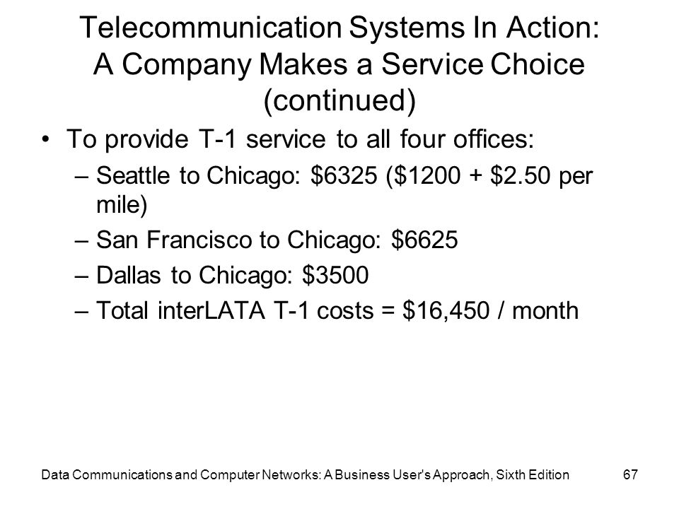 Data Communications and Computer Networks: A Business User s Approach, Sixth Edition67 Telecommunication Systems In Action: A Company Makes a Service Choice (continued) To provide T-1 service to all four offices: –Seattle to Chicago: $6325 ($1200 + $2.50 per mile) –San Francisco to Chicago: $6625 –Dallas to Chicago: $3500 –Total interLATA T-1 costs = $16,450 / month