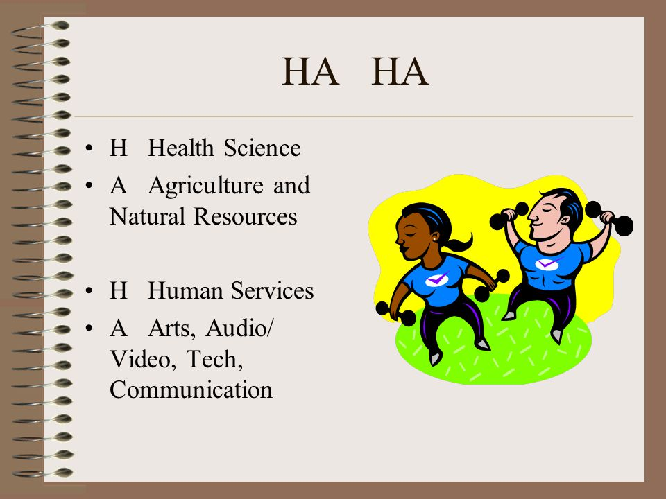 HA H Health Science A Agriculture and Natural Resources H Human Services A Arts, Audio/ Video, Tech, Communication