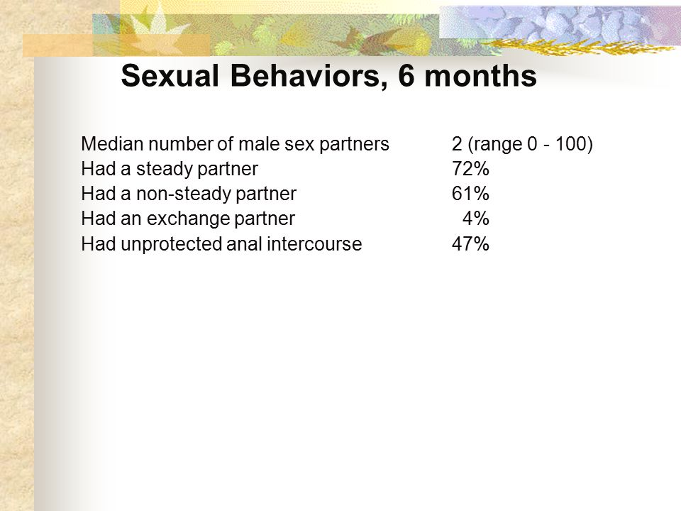 Sexual Behaviors, 6 months Median number of male sex partners 2 (range ) Had a steady partner72% Had a non-steady partner61% Had an exchange partner 4% Had unprotected anal intercourse47%