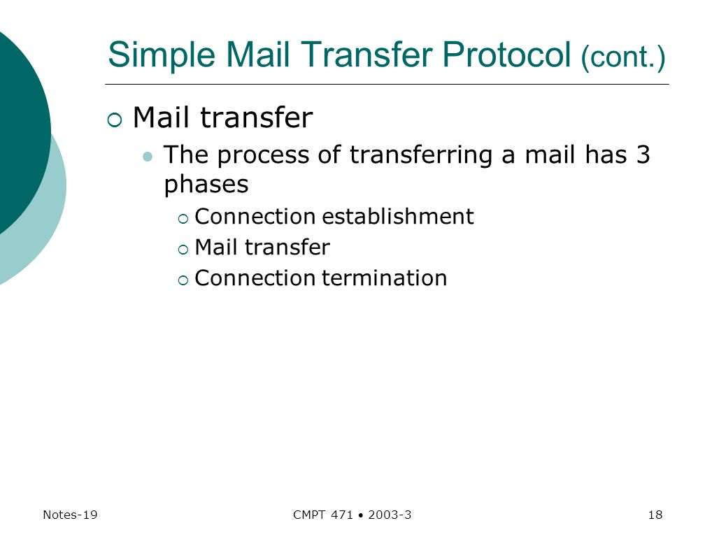 Notes-19 CMPT 471  Simple Mail Transfer Protocol (cont.)  Mail transfer The process of transferring a mail has 3 phases  Connection establishment  Mail transfer  Connection termination