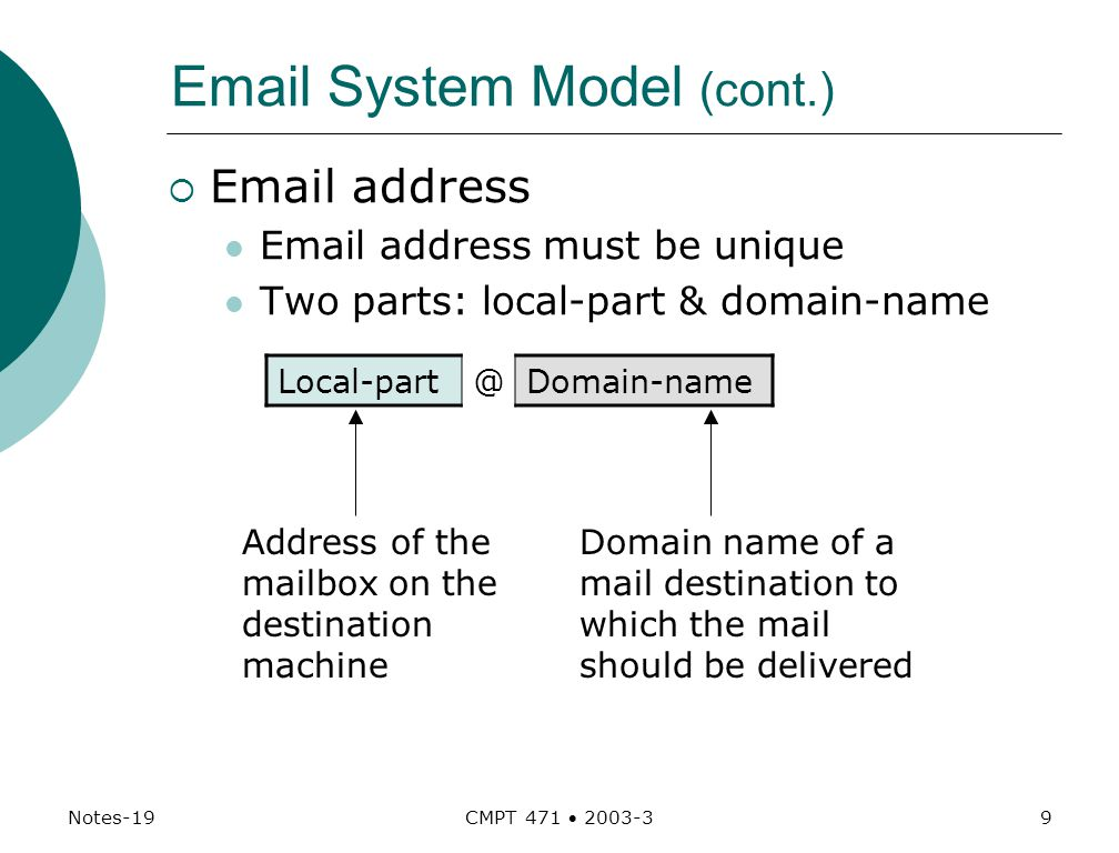 Notes-19 CMPT 471  System Model (cont.)   address  address must be unique Two parts: local-part & domain-name Address of the mailbox on the destination machine Domain name of a mail destination to which the mail should be delivered
