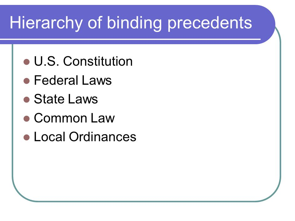 Hierarchy of binding precedents U.S.