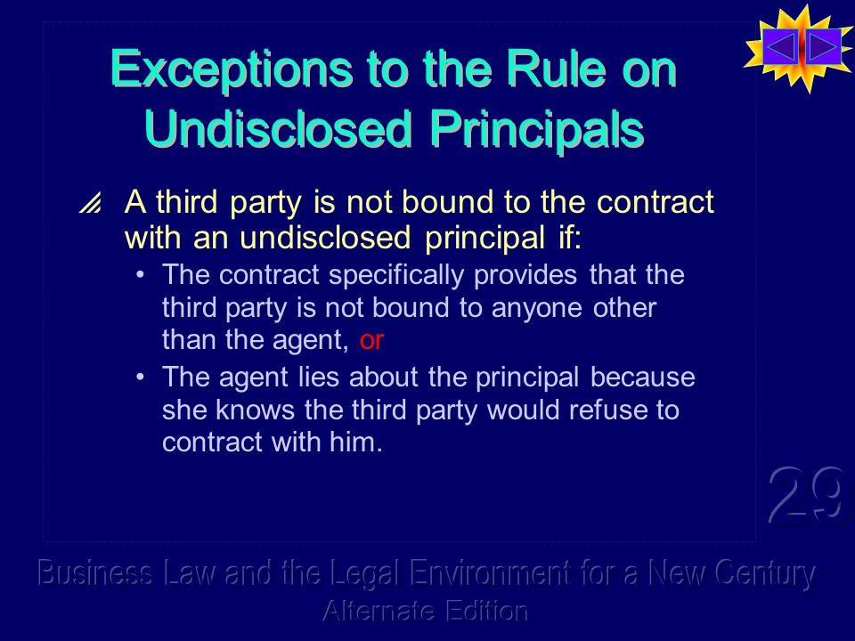 Exceptions to the Rule on Undisclosed Principals  A third party is not bound to the contract with an undisclosed principal if: The contract specifically provides that the third party is not bound to anyone other than the agent, or The agent lies about the principal because she knows the third party would refuse to contract with him.
