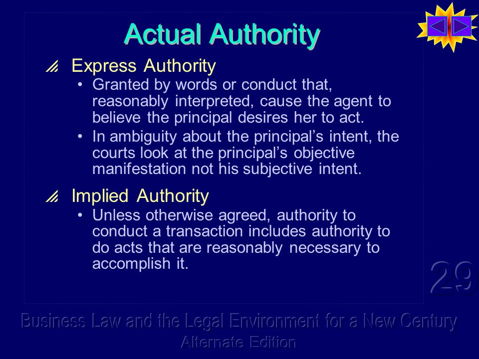 Actual Authority  Express Authority Granted by words or conduct that, reasonably interpreted, cause the agent to believe the principal desires her to act.