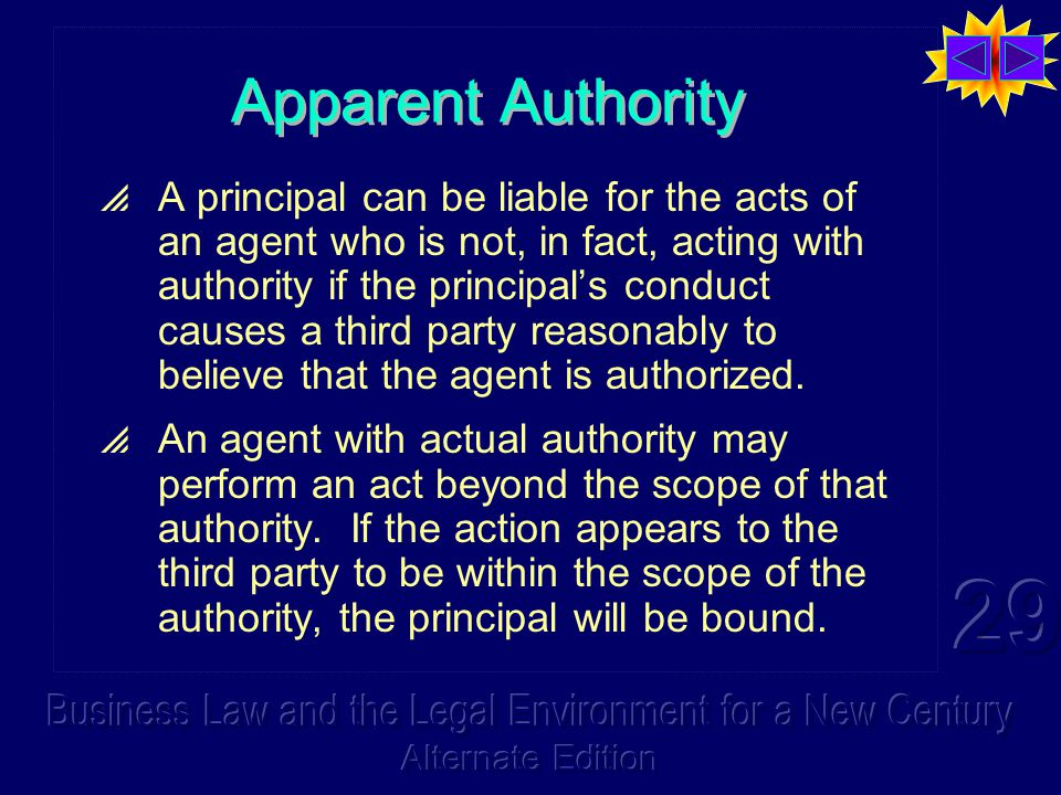 Apparent Authority  A principal can be liable for the acts of an agent who is not, in fact, acting with authority if the principal's conduct causes a third party reasonably to believe that the agent is authorized.