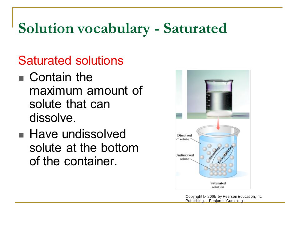Solution vocabulary - Saturated Saturated solutions Contain the maximum amount of solute that can dissolve.