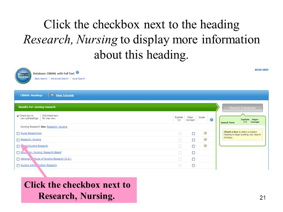 Click the checkbox next to the heading Research, Nursing to display more information about this heading.