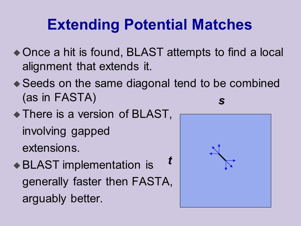 Extending Potential Matches u Once a hit is found, BLAST attempts to find a local alignment that extends it.