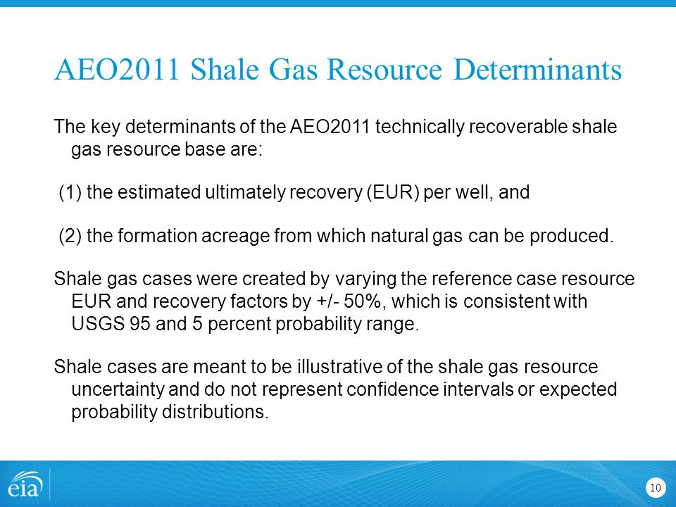 AEO2011 Shale Gas Resource Determinants 10 The key determinants of the AEO2011 technically recoverable shale gas resource base are: (1) the estimated ultimately recovery (EUR) per well, and (2) the formation acreage from which natural gas can be produced.