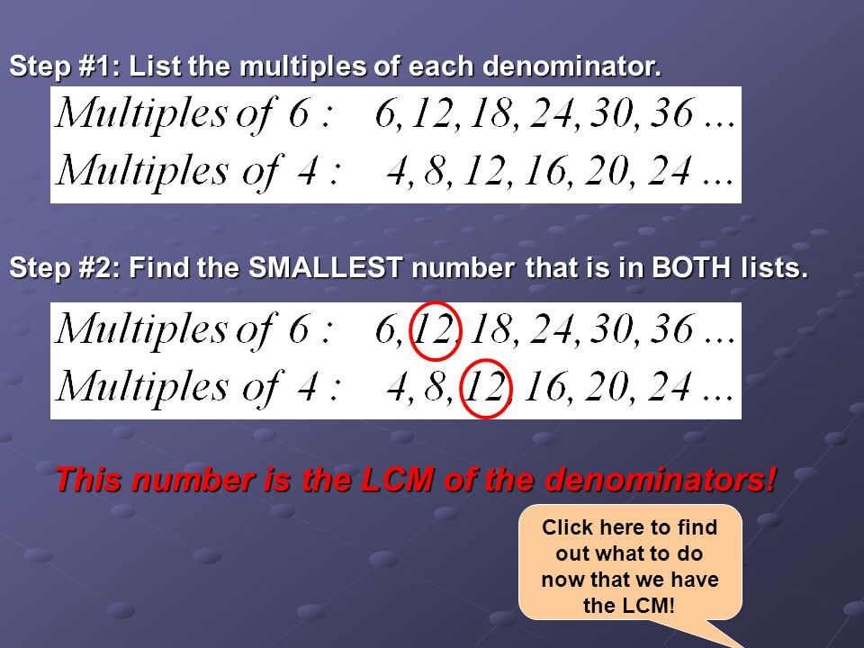 Step #1: List the multiples of each denominator.