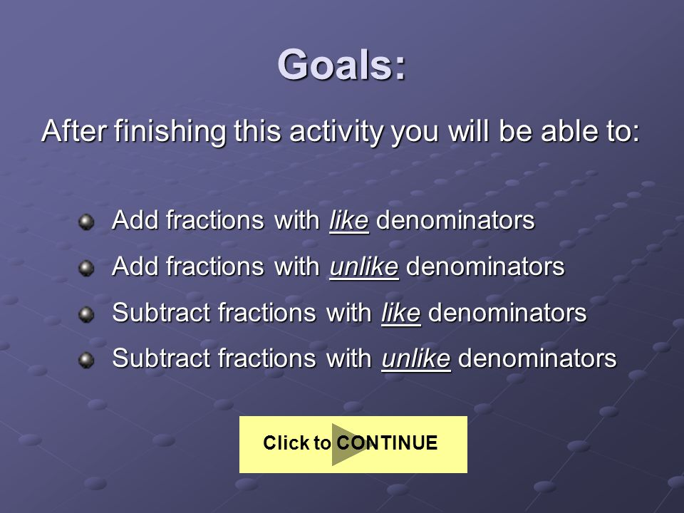 Goals: After finishing this activity you will be able to: Add fractions with like denominators Add fractions with like denominators Add fractions with unlike denominators Add fractions with unlike denominators Subtract fractions with like denominators Subtract fractions with like denominators Subtract fractions with unlike denominators Subtract fractions with unlike denominators Click to CONTINUE
