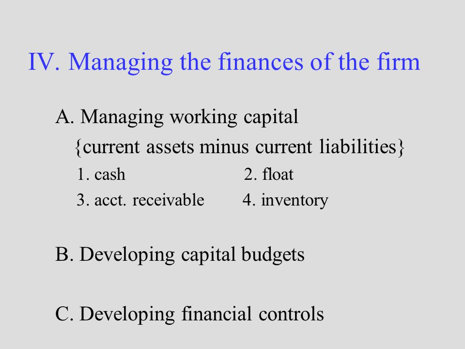 IV. Managing the finances of the firm A.