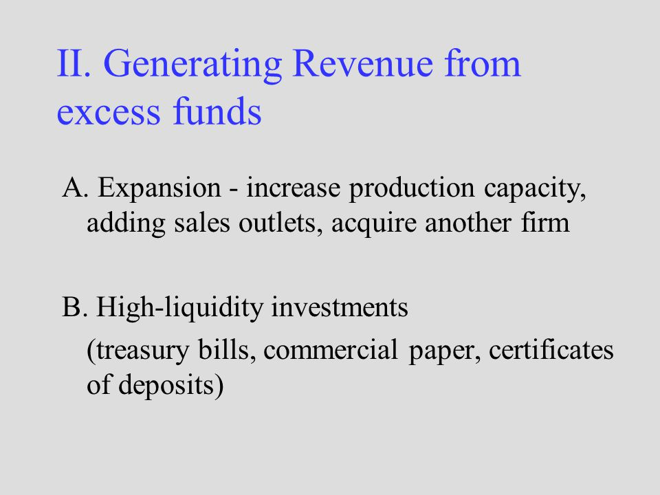 II. Generating Revenue from excess funds A.