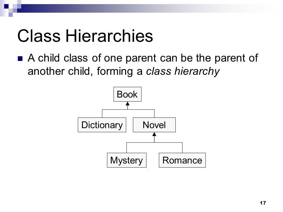 17 Class Hierarchies A child class of one parent can be the parent of another child, forming a class hierarchy Book NovelDictionary MysteryRomance