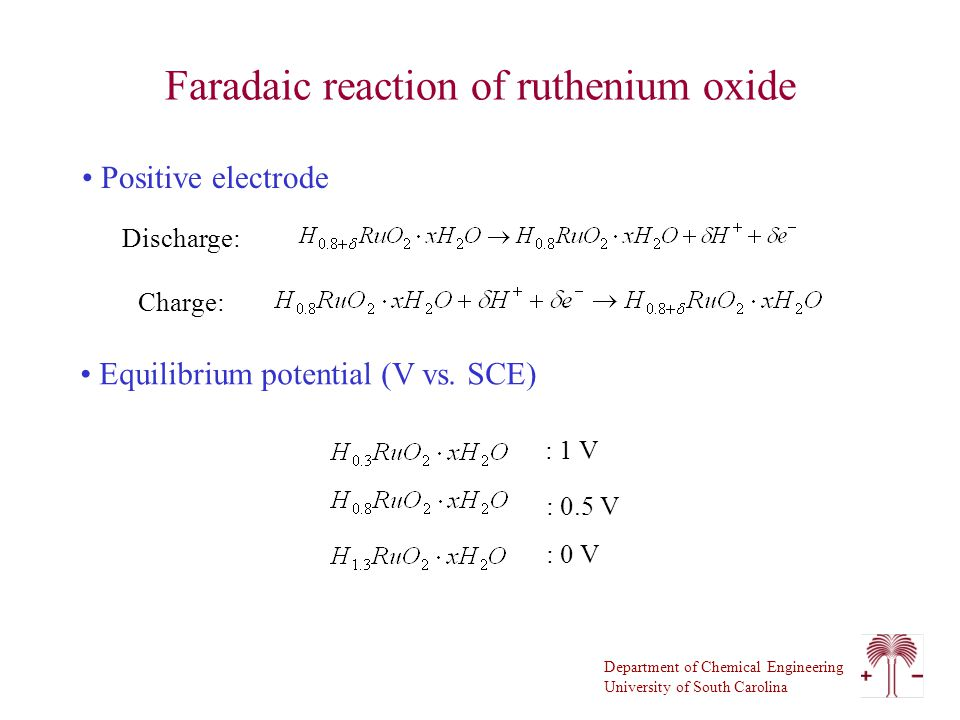 Department of Chemical Engineering University of South Carolina Faradaic reaction of ruthenium oxide Positive electrode Discharge: Charge: Equilibrium potential (V vs.