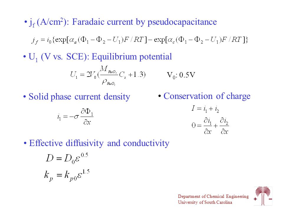 Department of Chemical Engineering University of South Carolina j f (A/cm 2 ): Faradaic current by pseudocapacitance U 1 (V vs.