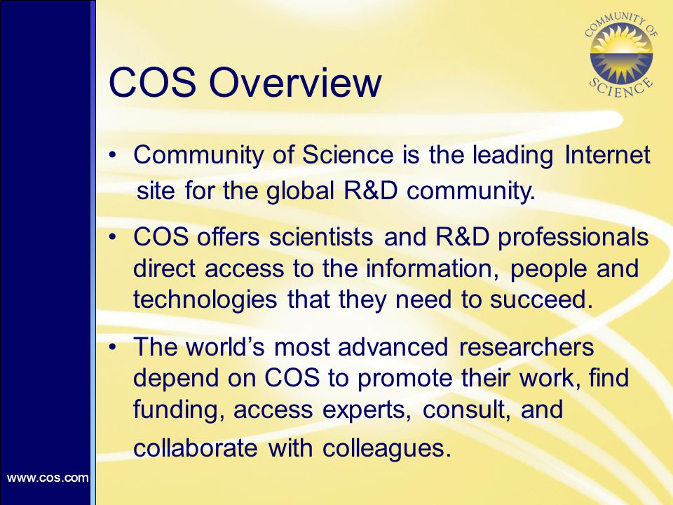 Community of Science is the leading Internet site for the global R&D community.