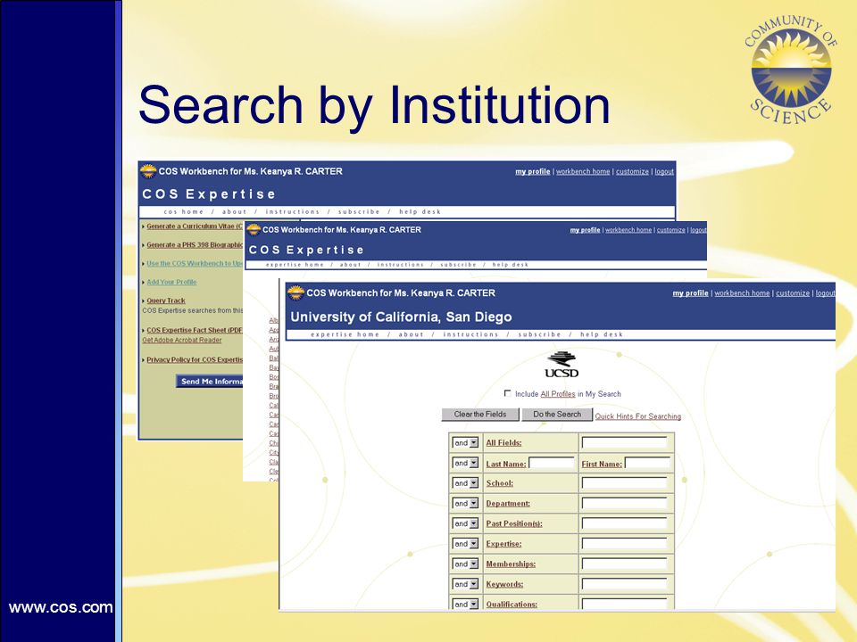Search by Institution
