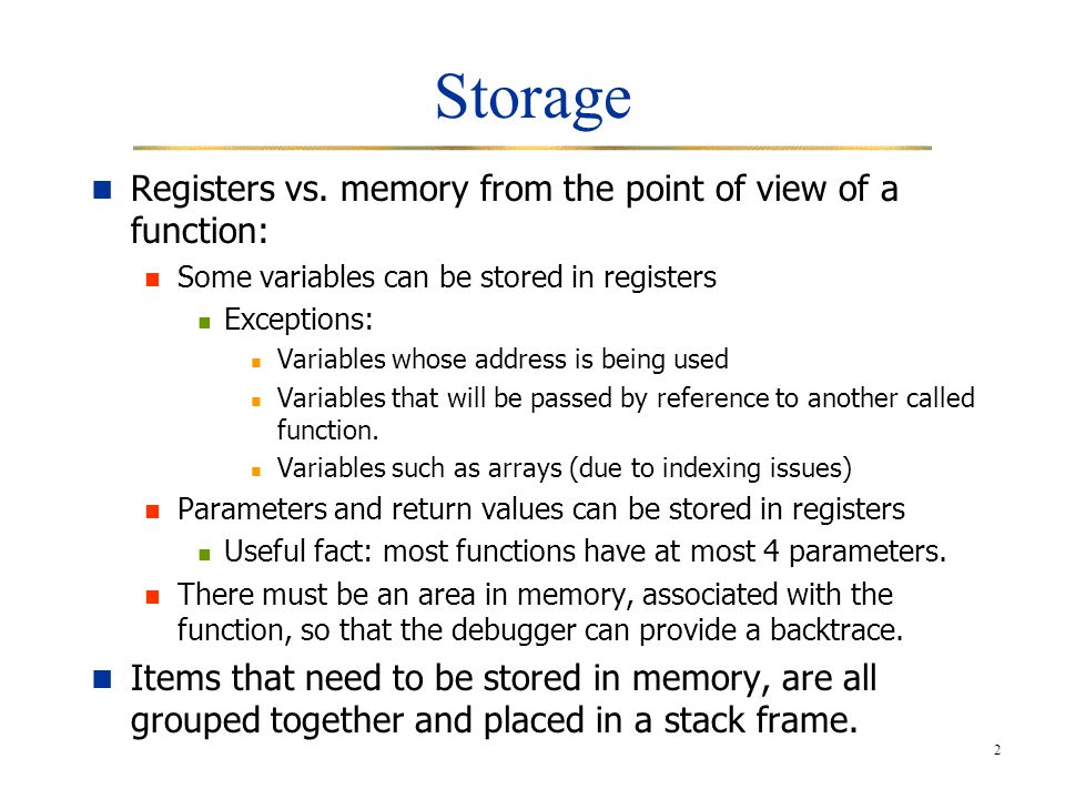 2 Storage Registers vs.