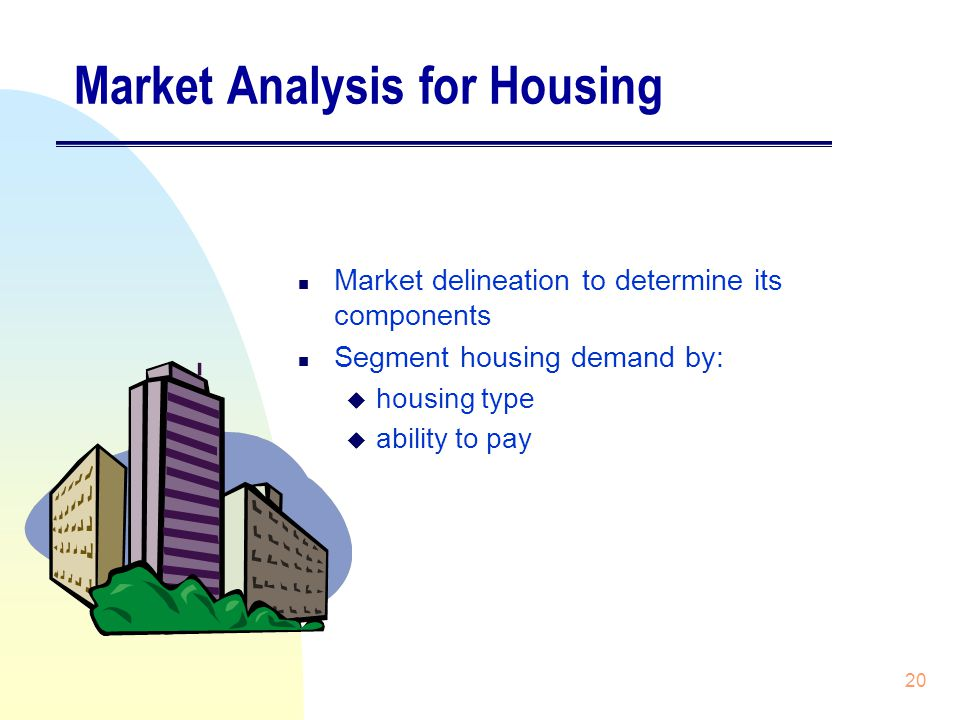 20 Market Analysis for Housing n Market delineation to determine its components n Segment housing demand by: u housing type u ability to pay