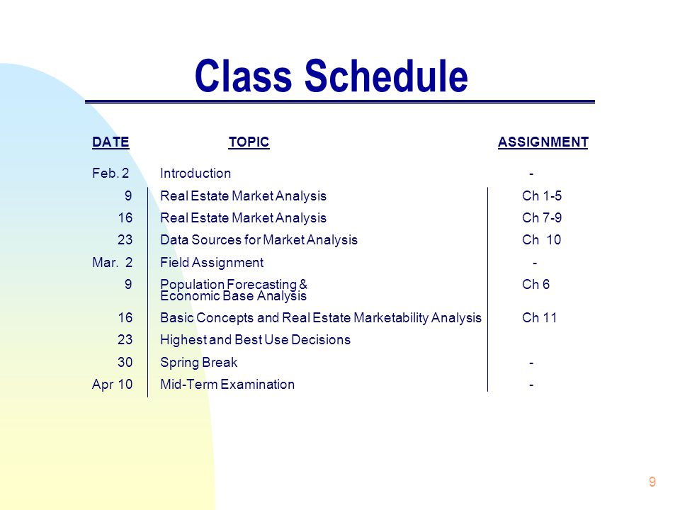 9 Class Schedule DATETOPIC ASSIGNMENT Feb.