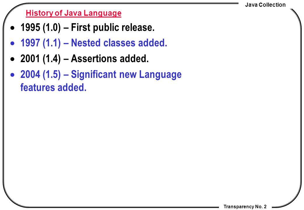 Java Programming Transparency No  1 Lecture 13 Java 1 5 New