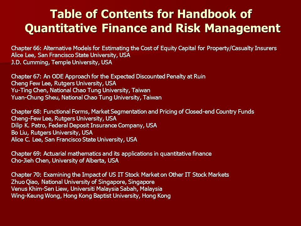 Handbook of Quantitative Finance and Risk Management Edited