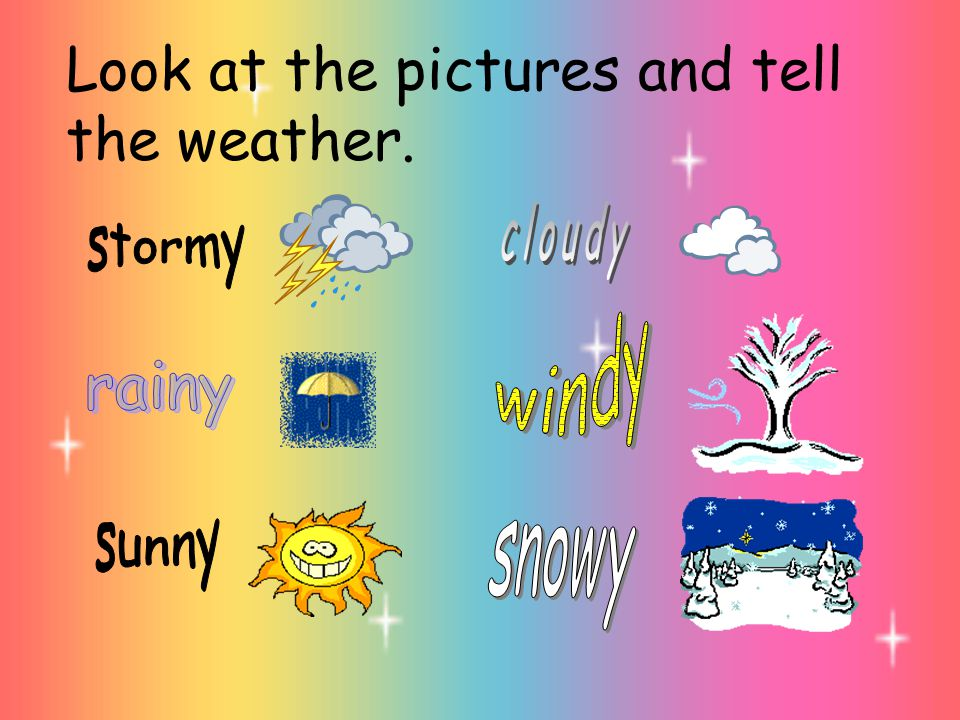 Look at the pictures and tell the weather.