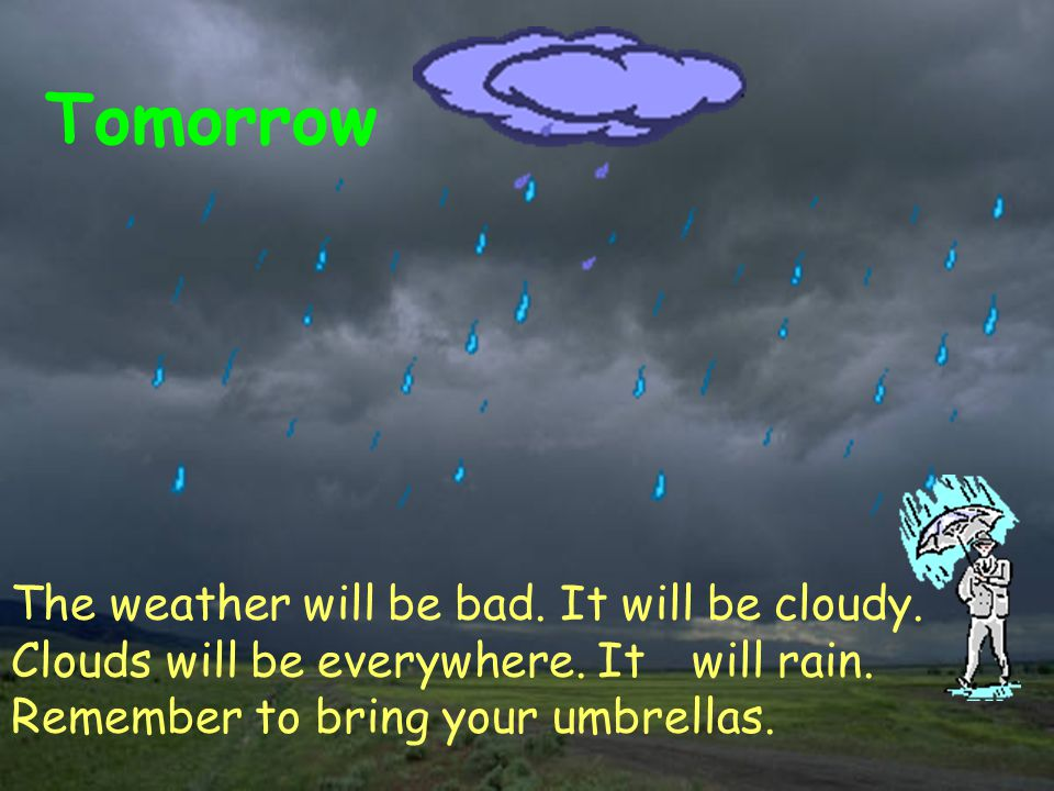 Tomorrow The weather will be bad. It will be cloudy.