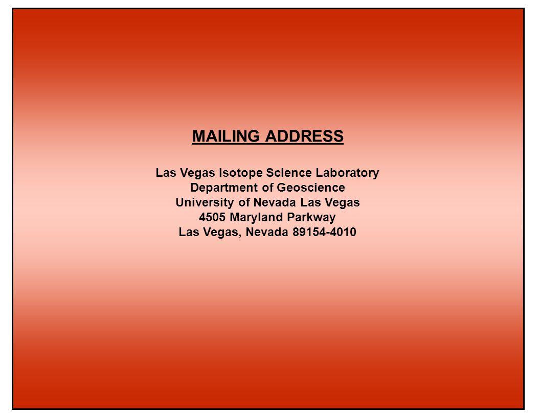 Las Vegas Isotope Science Laboratory University of Nevada Las Vegas