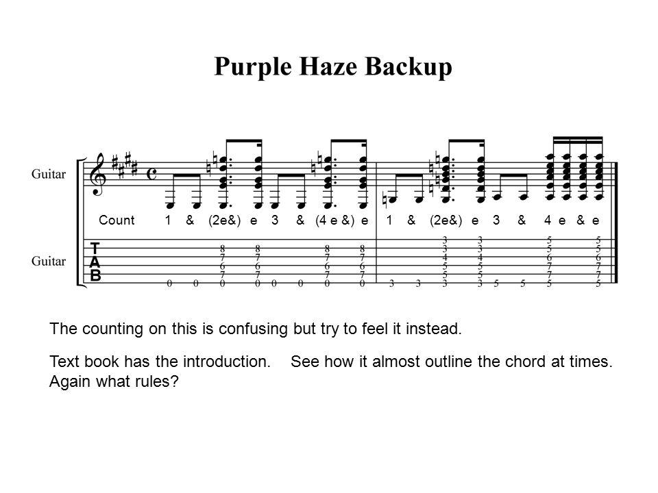 Purple Haze Hendrix Chord From The Book Purple Haze To Start This