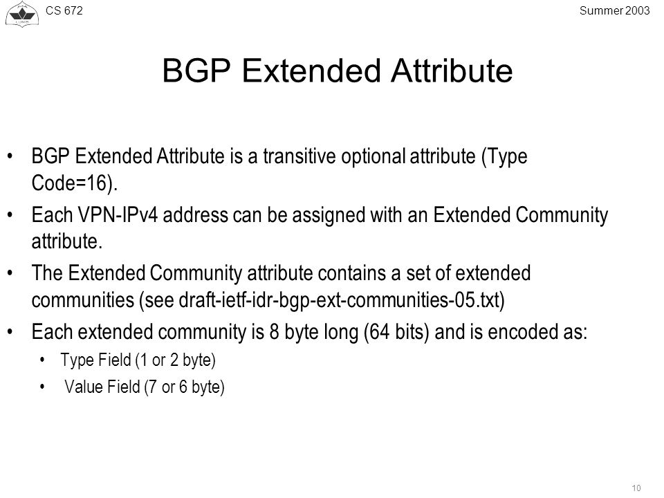 CS Summer 2003 BGP Extended Attribute BGP Extended Attribute is a transitive optional attribute (Type Code=16).