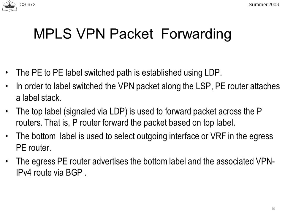 CS Summer 2003 MPLS VPN Packet Forwarding The PE to PE label switched path is established using LDP.