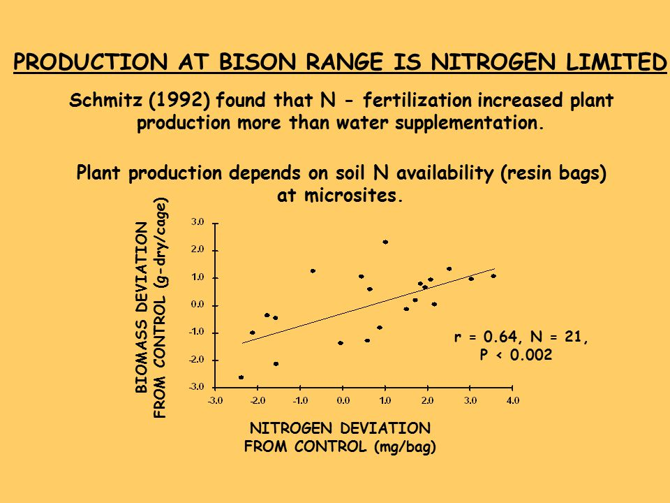 PRODUCTION AT BISON RANGE IS NITROGEN LIMITED Schmitz (1992) found that N - fertilization increased plant production more than water supplementation.