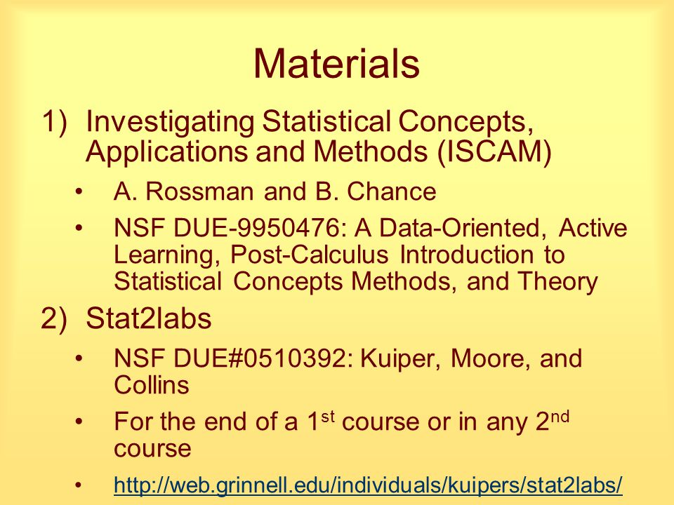 Materials 1)Investigating Statistical Concepts, Applications and Methods (ISCAM) A.