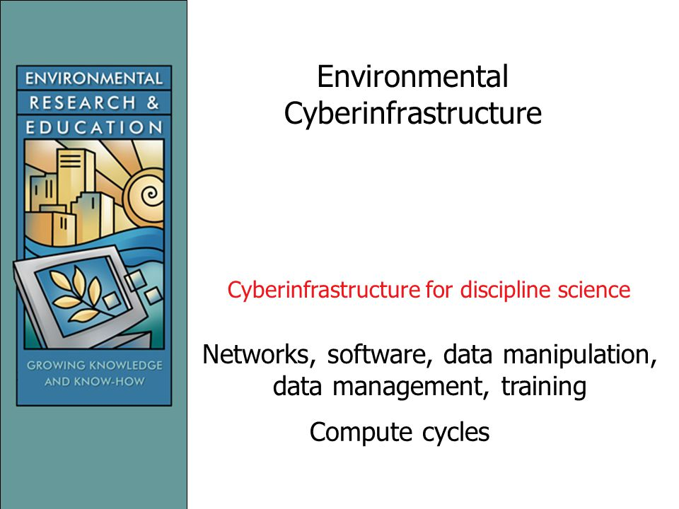 Environmental Cyberinfrastructure Compute cycles Networks, software, data manipulation, data management, training Cyberinfrastructure for discipline science