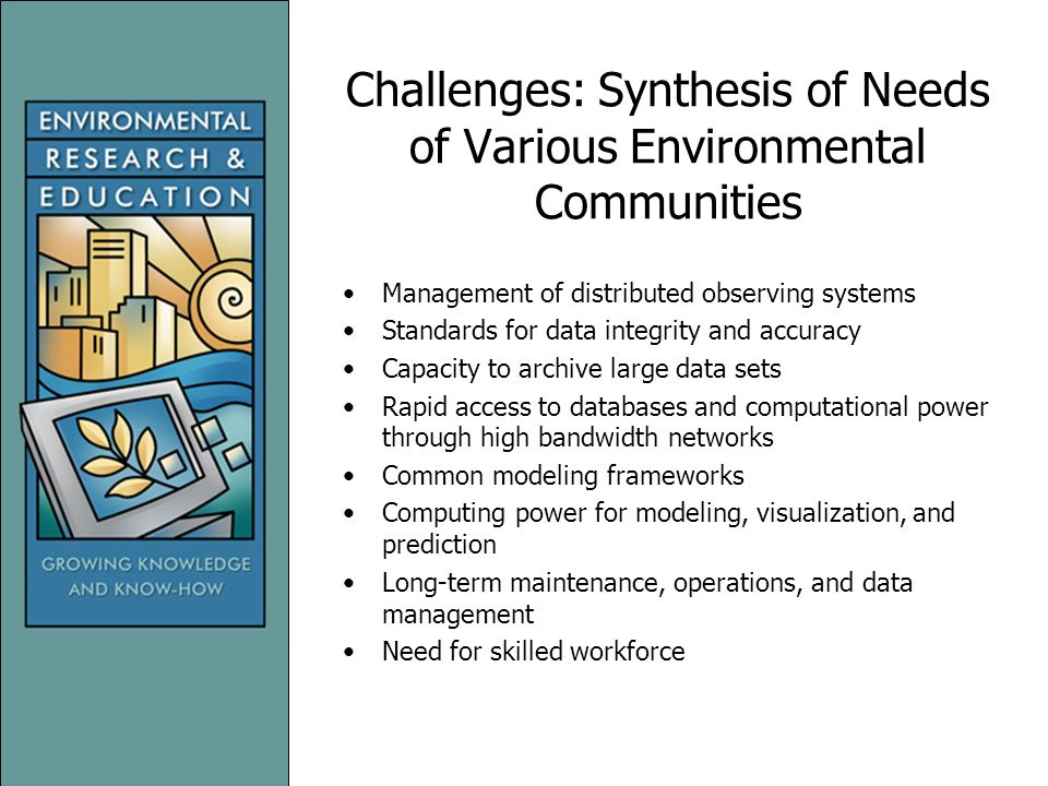 Challenges: Synthesis of Needs of Various Environmental Communities Management of distributed observing systems Standards for data integrity and accuracy Capacity to archive large data sets Rapid access to databases and computational power through high bandwidth networks Common modeling frameworks Computing power for modeling, visualization, and prediction Long-term maintenance, operations, and data management Need for skilled workforce