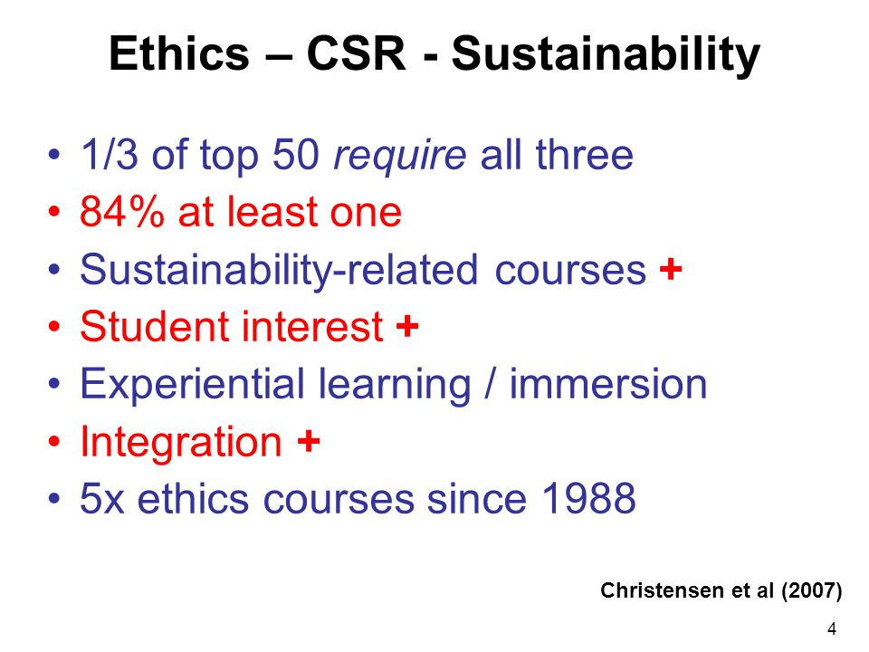4 Ethics – CSR - Sustainability 1/3 of top 50 require all three 84% at least one Sustainability-related courses + Student interest + Experiential learning / immersion Integration + 5x ethics courses since 1988 Christensen et al (2007)