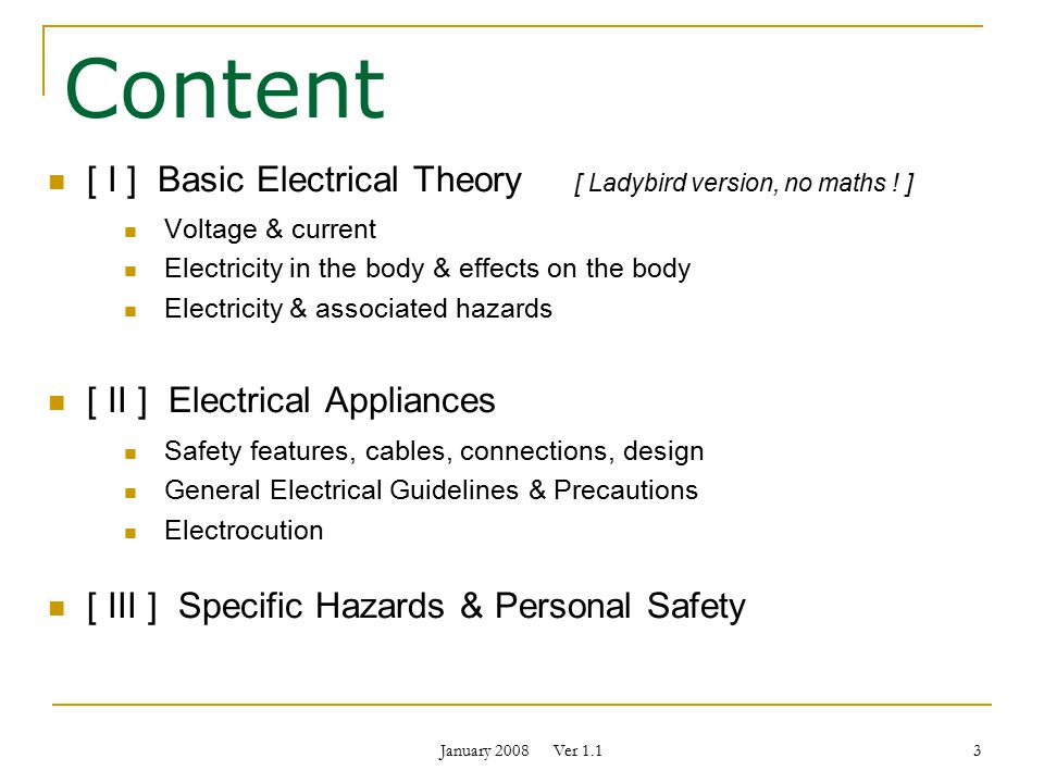 January 2008 Ver 1.1 Basic Electrical Safety Faculty of Science ...