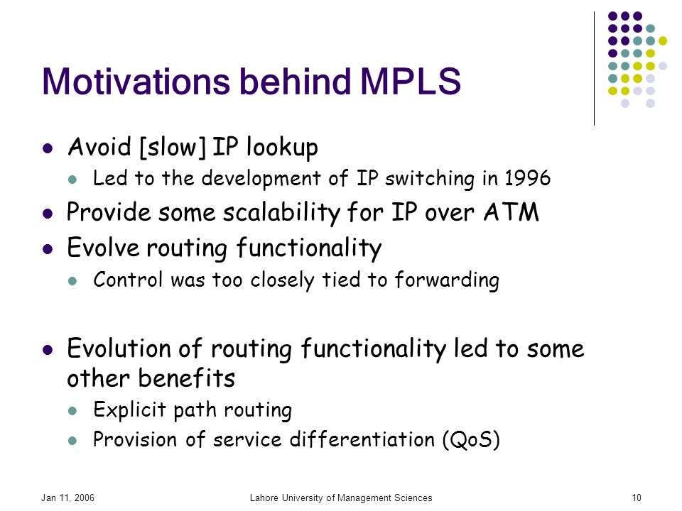 Jan 11, 2006Lahore University of Management Sciences10 Motivations behind MPLS Avoid [slow] IP lookup Led to the development of IP switching in 1996 Provide some scalability for IP over ATM Evolve routing functionality Control was too closely tied to forwarding Evolution of routing functionality led to some other benefits Explicit path routing Provision of service differentiation (QoS)