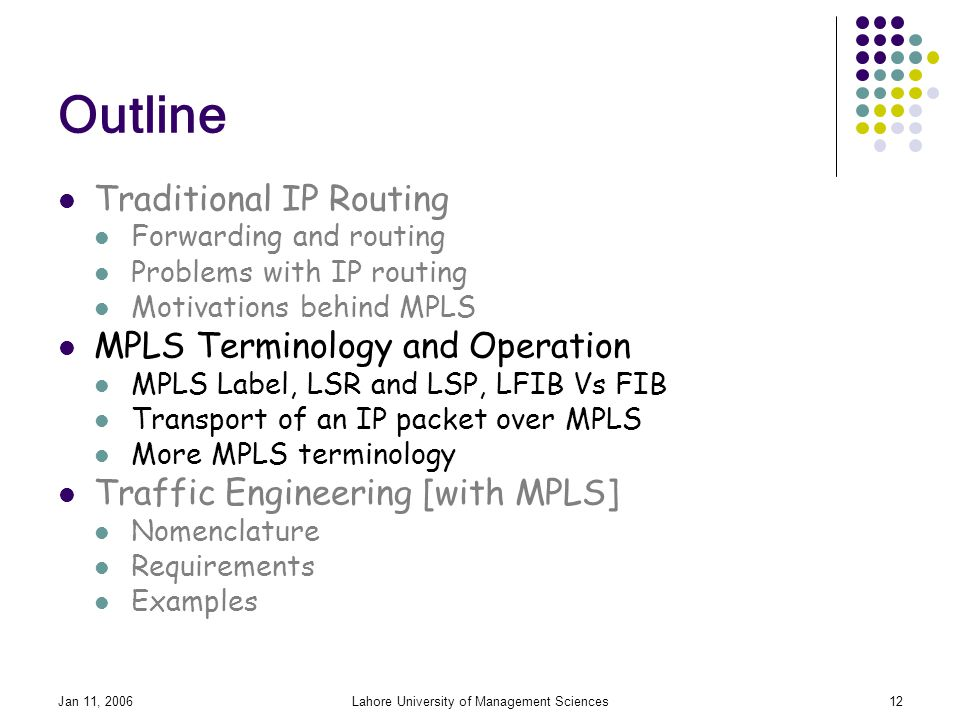 Jan 11, 2006Lahore University of Management Sciences12 Outline Traditional IP Routing Forwarding and routing Problems with IP routing Motivations behind MPLS MPLS Terminology and Operation MPLS Label, LSR and LSP, LFIB Vs FIB Transport of an IP packet over MPLS More MPLS terminology Traffic Engineering [with MPLS] Nomenclature Requirements Examples