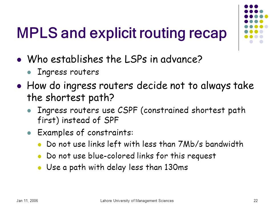 Jan 11, 2006Lahore University of Management Sciences22 MPLS and explicit routing recap Who establishes the LSPs in advance.