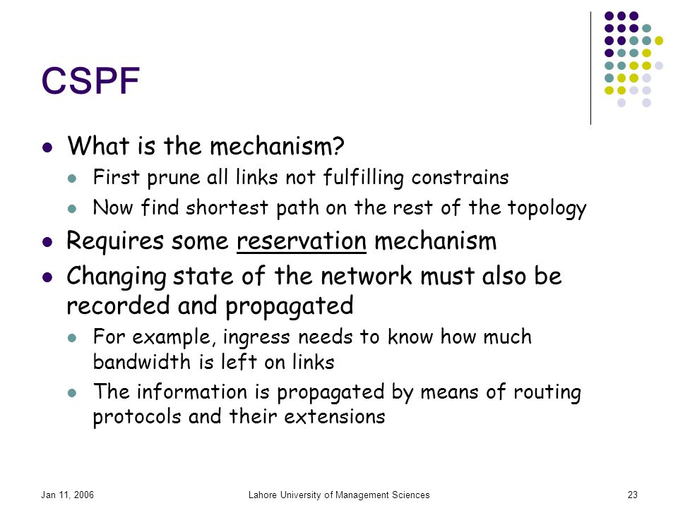 Jan 11, 2006Lahore University of Management Sciences23 CSPF What is the mechanism.