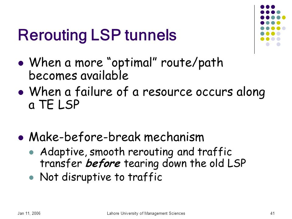 Jan 11, 2006Lahore University of Management Sciences41 Rerouting LSP tunnels When a more optimal route/path becomes available When a failure of a resource occurs along a TE LSP Make-before-break mechanism Adaptive, smooth rerouting and traffic transfer before tearing down the old LSP Not disruptive to traffic