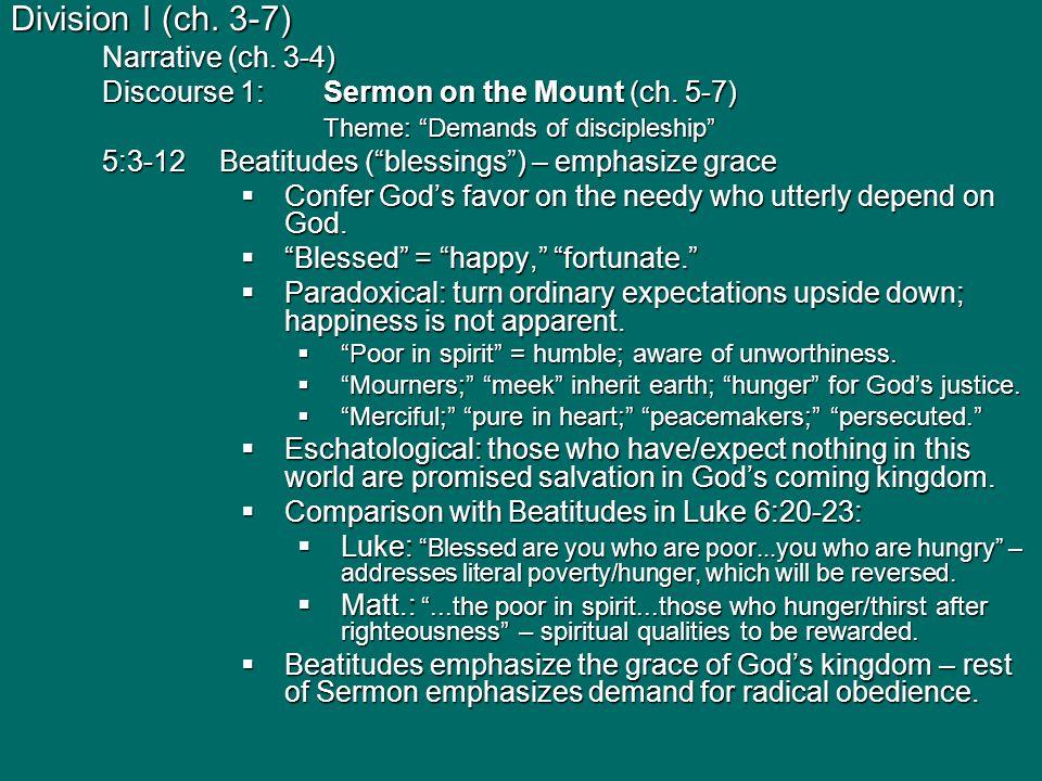Topic 5 Matthew : Jesus as Authoritative Teacher of God's