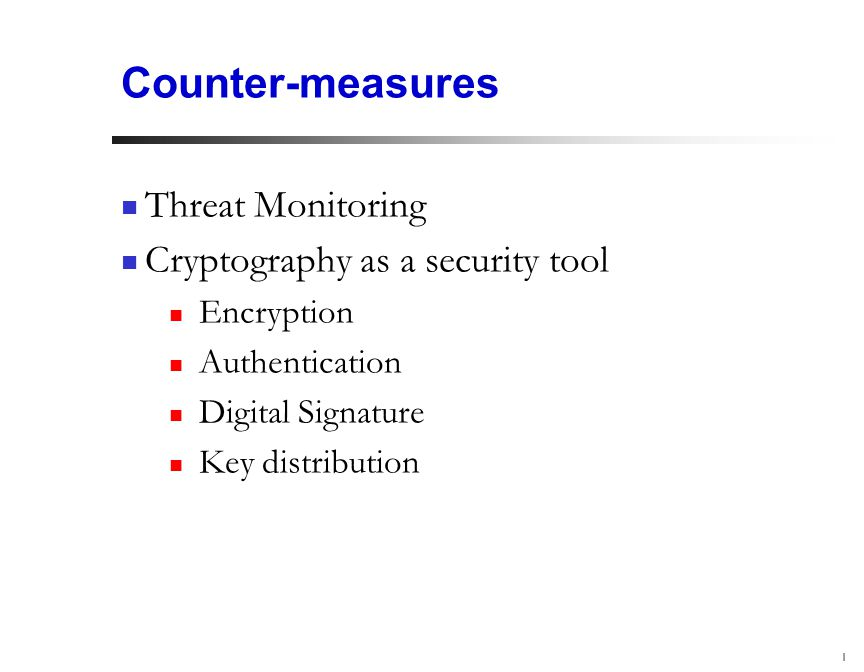 1 Counter-measures Threat Monitoring Cryptography as a security tool Encryption Authentication Digital Signature Key distribution