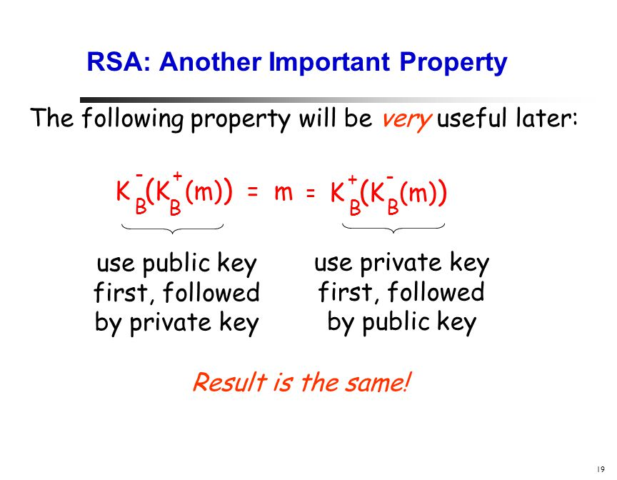 19 RSA: Another Important Property The following property will be very useful later: K ( K (m) ) = m B B - + K ( K (m) ) B B + - = use public key first, followed by private key use private key first, followed by public key Result is the same!