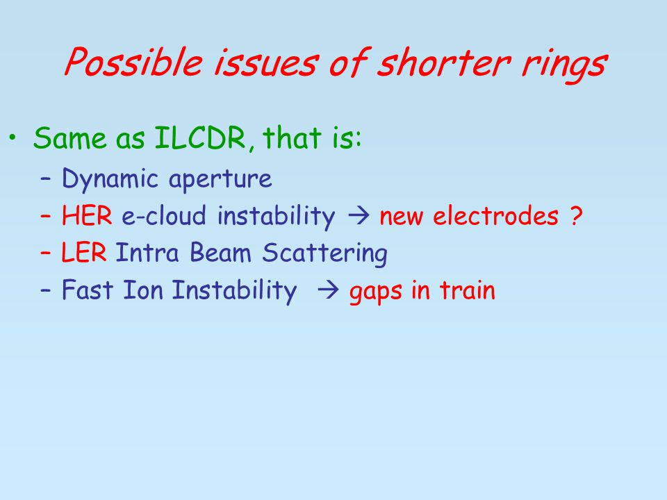 Possible issues of shorter rings Same as ILCDR, that is: –Dynamic aperture –HER e-cloud instability  new electrodes .