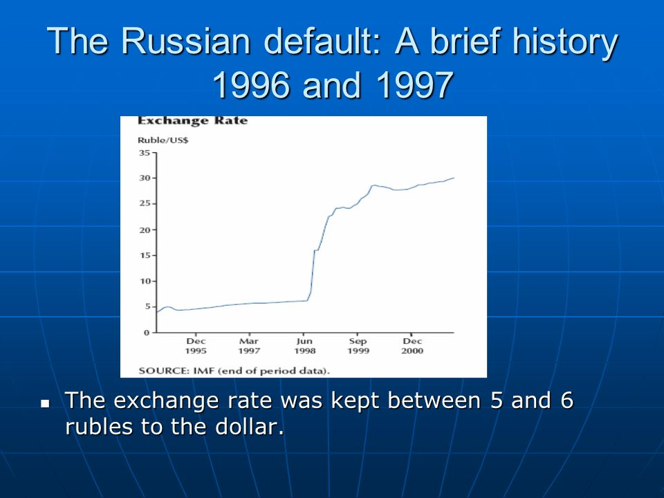 The Russian default: A brief history 1996 and 1997 The exchange rate was kept between 5 and 6 rubles to the dollar.
